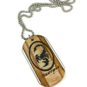 Scorpio Wood and Stainless Steel Dogtag Chain